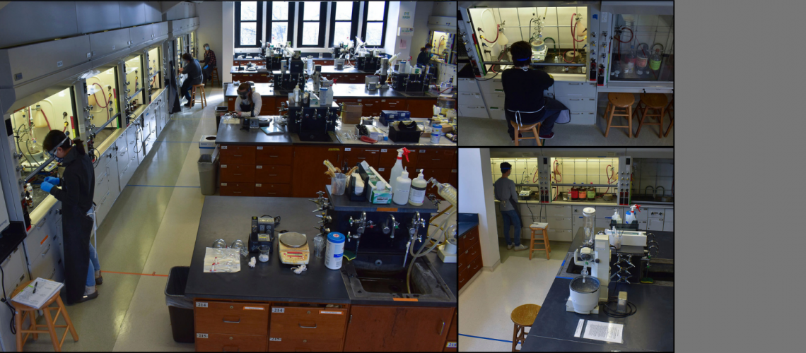 The Honors Organic Chemistry CHEM 23100 class performs the Grignard Synthesis of Triarylmethane Dyes experiment. (4/7)