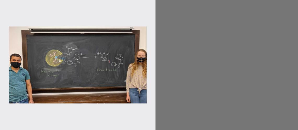 On a blackboard, UChicago postdoc Balu Dherange (left) and graduate student Kathleen Berger illustrate a new technique th(5/28)